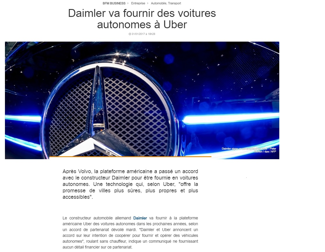 Daimler va fournir des voitures autonomes à Uber
