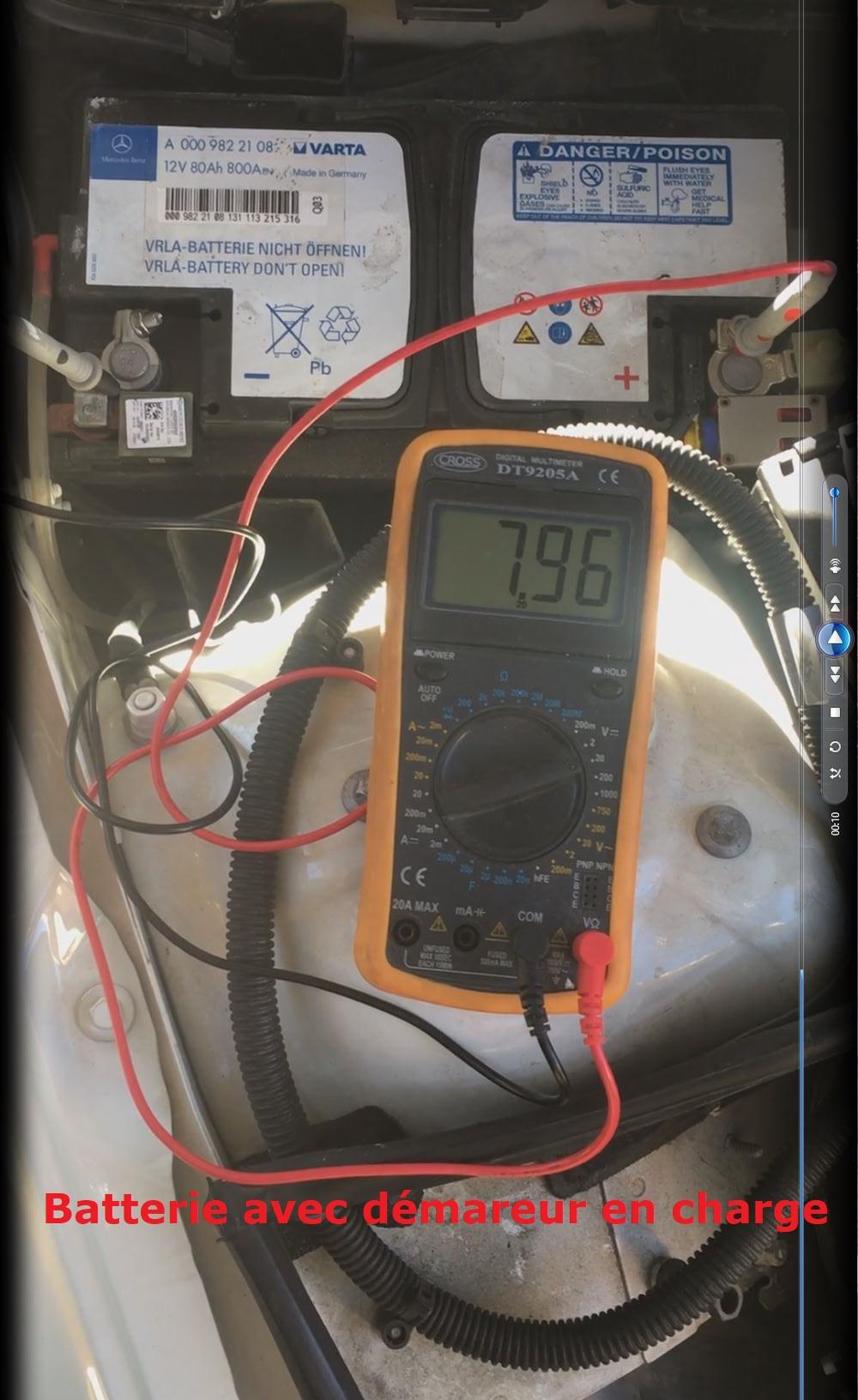 Batterie avec démareur en charge