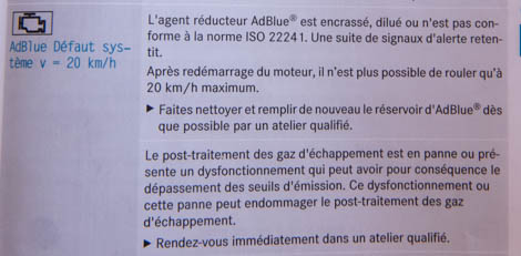 Adblue défaut système v = 20km/h