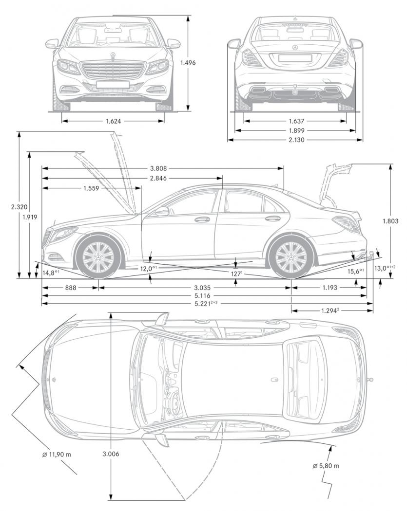 Mercedes Classe S W221 Berline 2010-2014 Chauffé Asphérique Miroir Verre pilotes RH