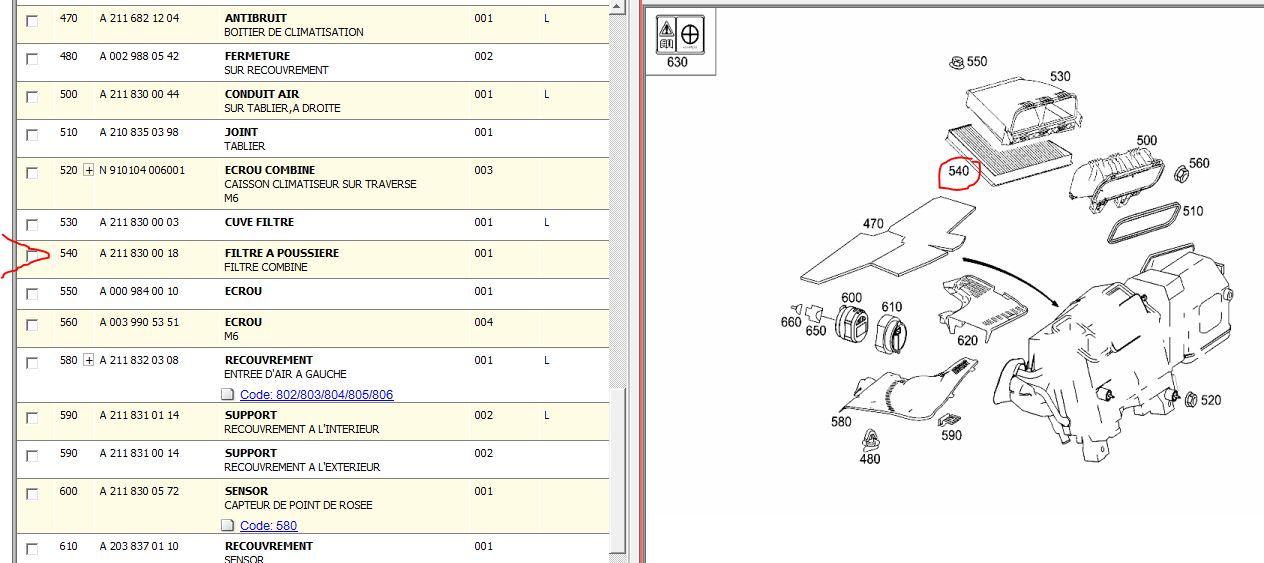 filtre combin d 39 habitacle de climatisation poussi re page 1 classe e w211 forum. Black Bedroom Furniture Sets. Home Design Ideas